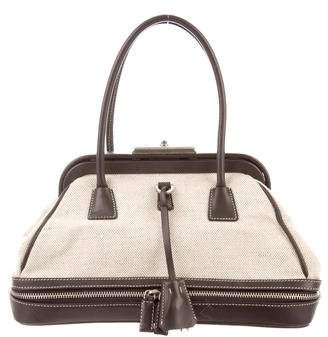 3e7be6f3936a Pre-Owned at TheRealReal · Prada Leather-Trimmed Canvas Handle Bag