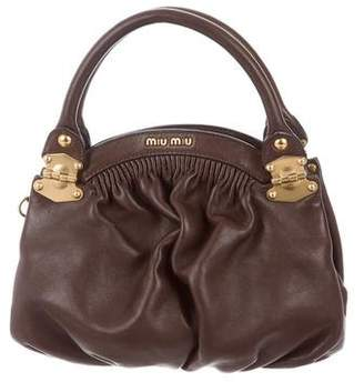 Miu Miu Pleated Leather Satchel