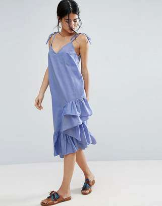ASOS Oxford Slip Dress With Ruffle Hem $53 thestylecure.com