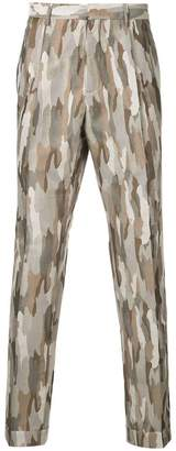 Cerruti camouflage style stitched trousers