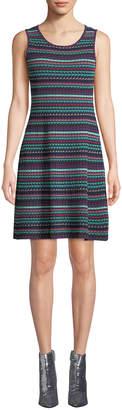 M Missoni Sleeveless Geometric-Striped Knit Dress