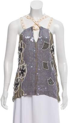 Sass & Bide Sleeveless Silk Sequin Top