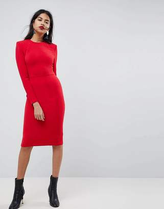 Asos Design Shoulder Pad Midi Dress With Seams