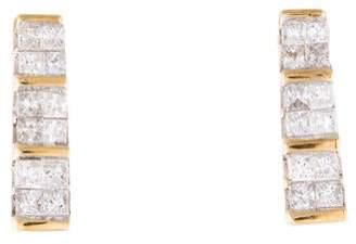 14K Diamond Bar Earrings