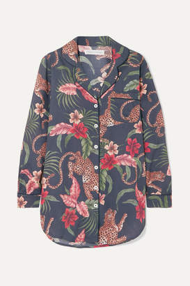 Desmond & Dempsey His Shirt For Her Printed Cotton-voile Pajama Shirt - Navy