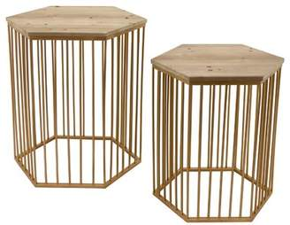 Bungalow Rose Contemporary Wood/Metal 2 Piece Nesting Tables