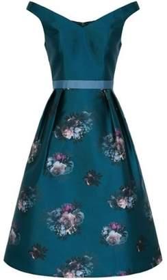 Dorothy Perkins Womens *Chi Chi London Teal Floral Print Midi Skater Dress