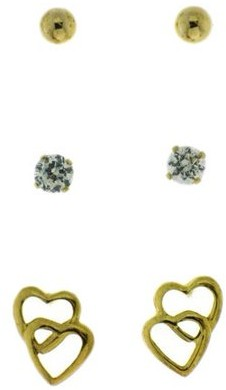 Brilliance+ Brilliance Fine Jewelry 4mm Ball, 0.8 Carat TW CZ Round, and Double Heart 18kt Gold Over Sterling Silver Stud Earrings Set