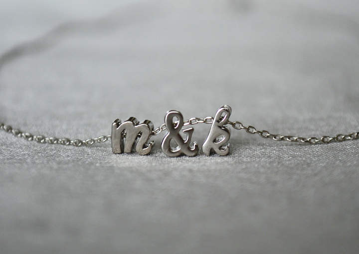 Etsy Personalized Letter Necklace - Silver or Gold - Bridesmaid Gift - Flower Girl Gift - Mother of the B