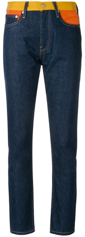 contrasting waistband slim fit jeans