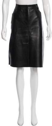 Donald J Pliner Leather Knee-Length Skirt