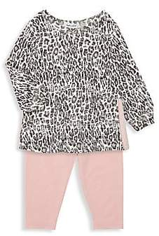 Splendid Baby Girl's Two-Piece Leopard Print Peplum Top & Pants Set