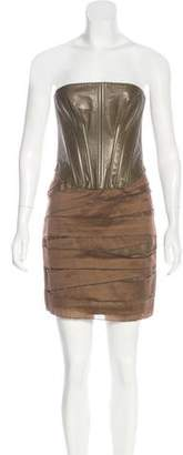 Jay Ahr Leather Bustier Dress