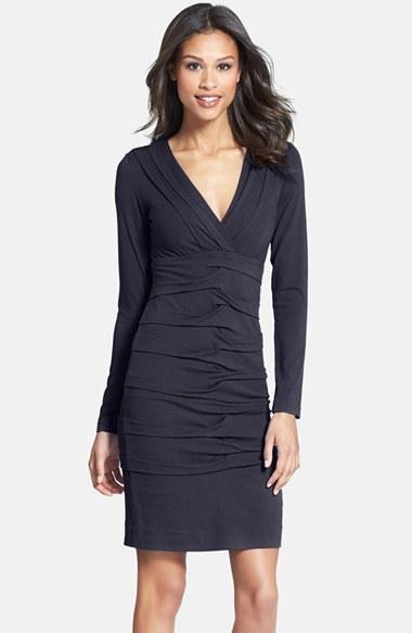 Nicole Miller Tuck Detail Jersey Dress