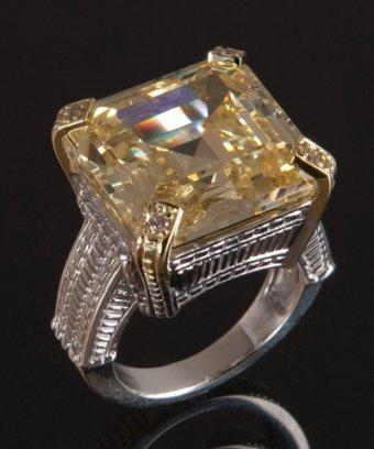 Judith Ripka canary crystal and diamond 'Montana' ring