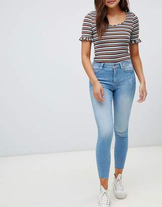 Miss Selfridge super skinny high waist jeans in light wash