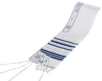 "Talitania Blue & Silver 100% Wool Kosher Tallit Prayer Shawl 24""x 72"" Imported From Israel"