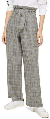 Topshop Check Wide Leg Trousers
