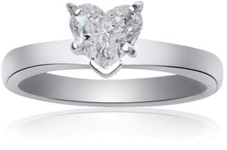 Platinum 0.77 Ct Natural Heart Shape Diamond Engagement Ring Size 6