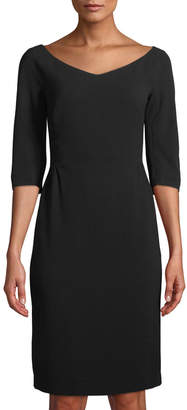 Lafayette 148 New York Alexia Half-Sleeve Knit Sheath Dress, Black