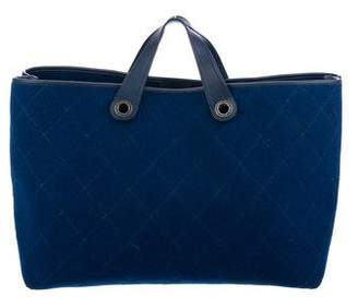 Chanel Large Quilted Felt Shopping Tote