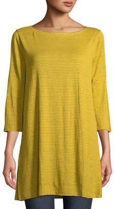 Eileen Fisher Mini-Stripe Organic Linen Jersey Tunic Tee