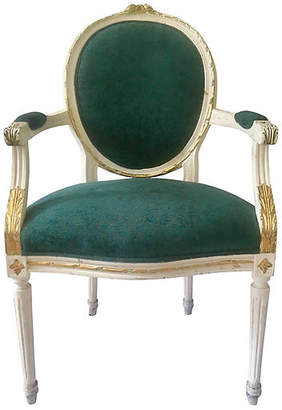 One Kings Lane Vintage Louis XVI Parcel-Gilt Medallion Armchair - Antiques on Jackson