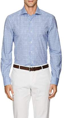 Isaia Men's Plaid Cotton Poplin Shirt - Lt. Blue