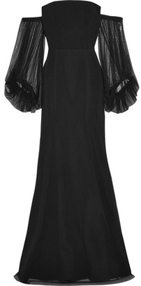 Rebecca Vallance - Orlando Off-the-shoulder Point D'esprit And Crepe Gown - Black $1,040 thestylecure.com