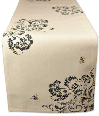 Design Imports Honey Bee Busy Bee Embroidered Table Runner