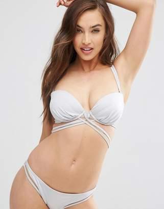 Asos DESIGN FULLER BUST Mix and Match Silver Multi Wrap Bandeau Bikini Top DD-G