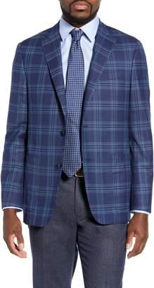 Hickey Freeman Classic B Fit Plaid Wool Sport Coat