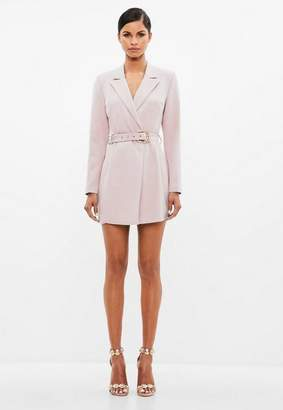 Missguided Nude Belted Blazer Dress