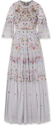 Needle & Thread Dreamers Embellished Embroidered Tulle Gown - Blue
