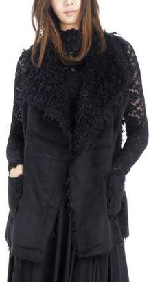 MELODY Women Faux Leather Loose Fit Vest with Faux Shaggy Fur (BLACK, LARGE)