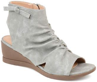 Journee Collection Womens Zip Peep Toe Wedge Heel Pumps