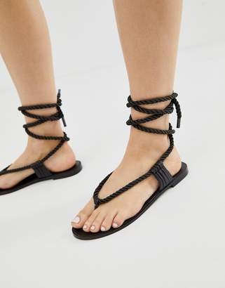 Miista Eeight E8 by rope detail tie leather sandals