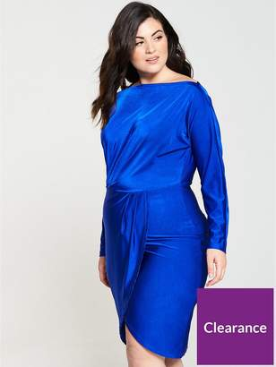 AX Paris CURVE Slinky Off Shoulder Bodycon Midi Dress - Cobalt Blue