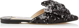 Jimmy Choo GEORGIA FLAT Black and Silver Double Faced Sequined Pointy Toe Flats