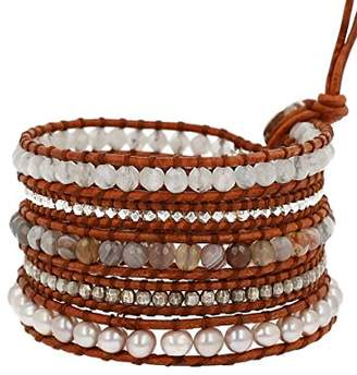 Chan Luu Women's Sterling Silver 5 Wrap Bracelet on Leather with Nuggets
