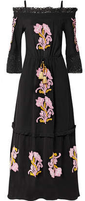 Figue Noelle Cold-shoulder Crochet-trimmed Embroidered Cotton-gauze Maxi Dress