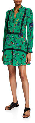 Derek Lam 10 Crosby Long-Sleeve Printed Half-Placket Shirt Dress