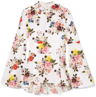 Erdem Miriam Floral-print Cotton-poplin Peplum Top - White