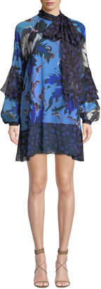 Diane von Furstenberg Effie Printed Tie-Neck Silk Cocktail Dress