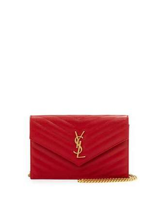 Saint Laurent Monogram Matelassé Small Wallet-on-Chain, Red $1,275 thestylecure.com