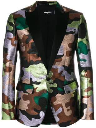 DSQUARED2 metallic camouflage patterned blazer