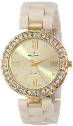 Peugeot Women's 7078GCR Ceramic Swarovski Crystal Gold Bezel Watch