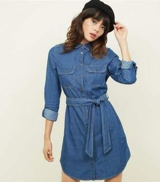 b488f17186 New Look Blue Tie Waist Lightweight Denim Shirt Dress