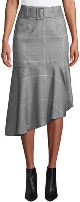 Romeo & Juliet Couture Ruffle-Hem Check Pencil Skirt