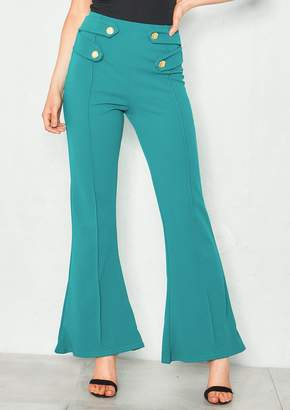 Missy Empire Missyempire Scarlett Teal Button High Waist Flare Trousers